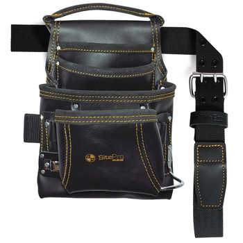SitePro 10-Pocket Carpenter's Top Grain Leather Nail and Tool Bag with Belt