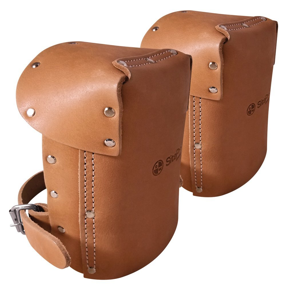 SitePro Padded Leather Knee Pads with Adjustable Strap