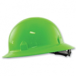 Full Brim Hard Hat  Hi-Viz Lime With Ratchet Suspension - 19220