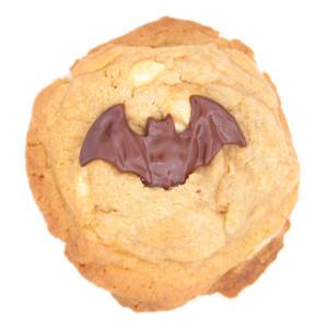 halloween white chocolate bat cookie
