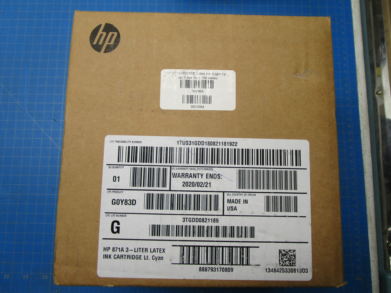 HP 871A 3-Liter Light Cyan Latex Ink Cartridge for Latex 370, 570 - G0Y83D P02-001005