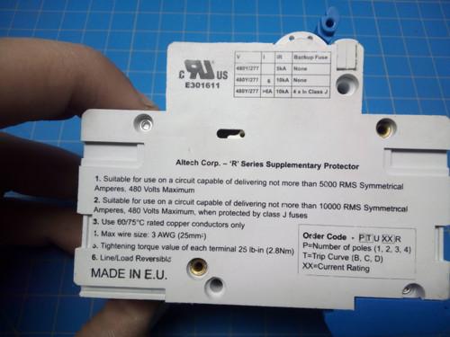 Altech 10 Amp 3 Pole Miniature Circuit Breaker 3DU10R - P02-000332