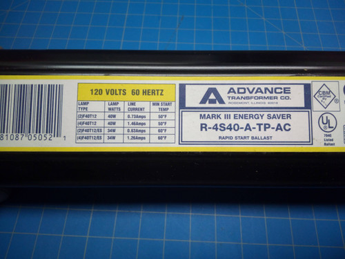 Advance Rapid Start Ballast R-4S40-A-TP-AC - P02-000463