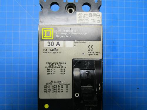 Square D Type FAL 2 Pole 30 Amp 250 Volt 480 Interrupter Circuit Breaker Cat No. FAL24030 P02-000896