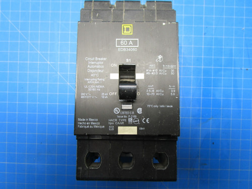 Square D Type EDB 3 Pole 60 Amp 340 Volt Interrupter Breaker P02-000897