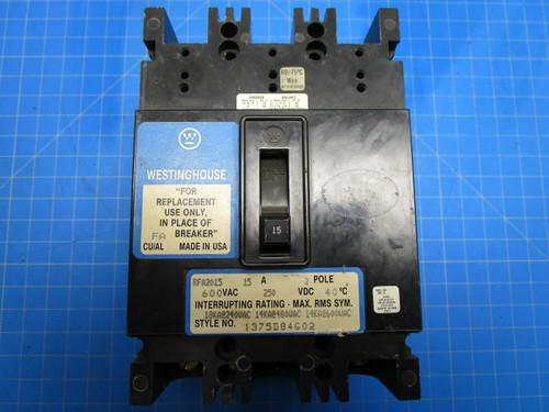 Westinghouse Type RF 2 Pole 15 Amp 20 Volt Interrupting Breaker P02-000890