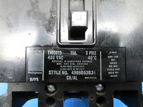 Westinghouse Type EHB 3 Pole 15 Amp 30 Volt Interrupting Breaker P02-000902