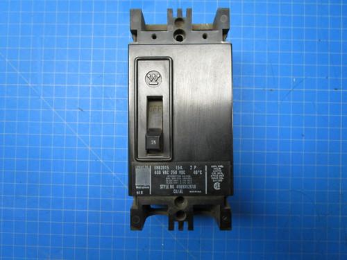 Westinghouse Type EHB 2 Pole 15 Amp 20 Volt Interrupting Breaker P02-000903