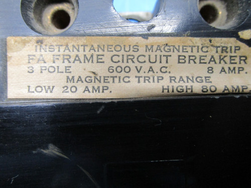 SCHNEIDER Type FAL 3 Pole 8 Amp 600 Volt Magnetic Trip Range Circuit Breaker P02-000913