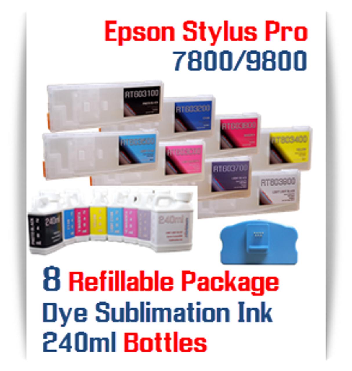 8 Refillable Cartridges, Dye Sublimation ink Epson Stylus Pro 7800, 9800