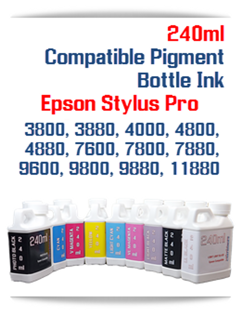 240ml Light Black Bottle Pigment Ink Epson Stylus Pro printers