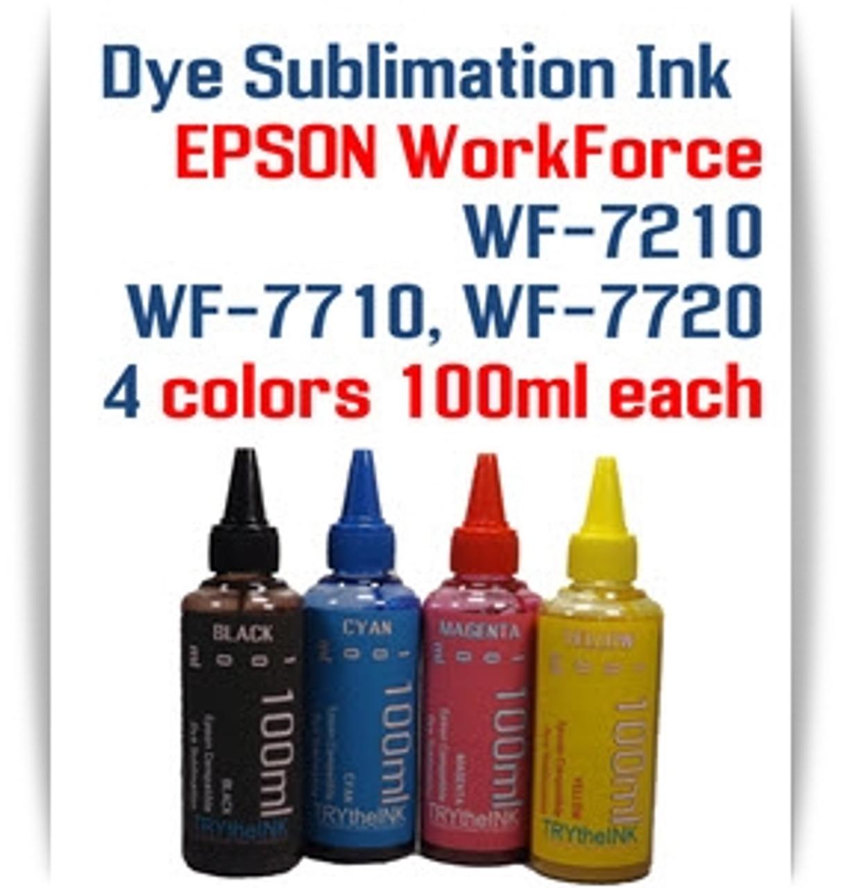 4- 100ml Dye Sublimation ink Epson WF-7210, WF-7710, WF-7720 printers