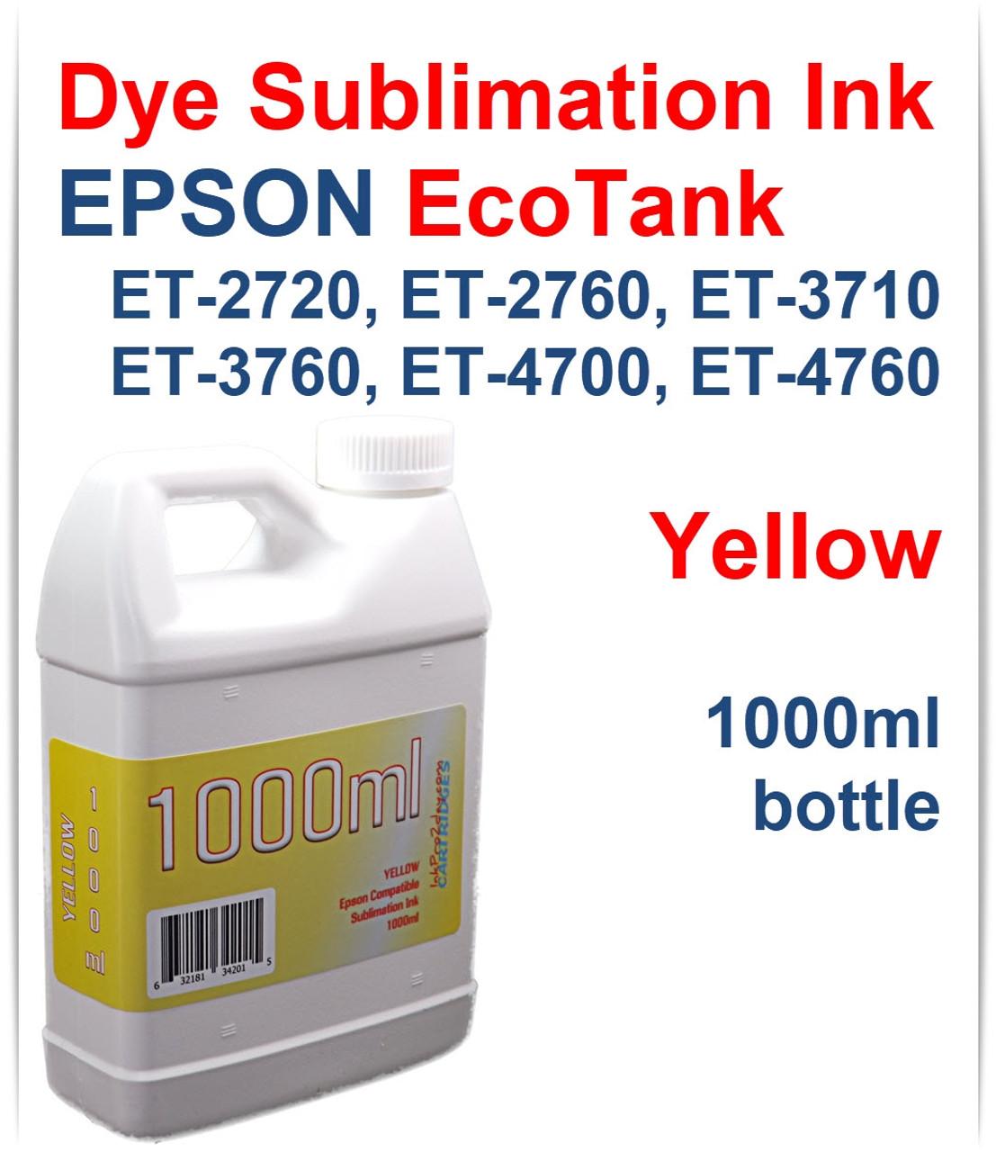 Epson Ecotank Et 2720 Et 2760 4 Color Dye Sublimation Ink 1000ml Bottles