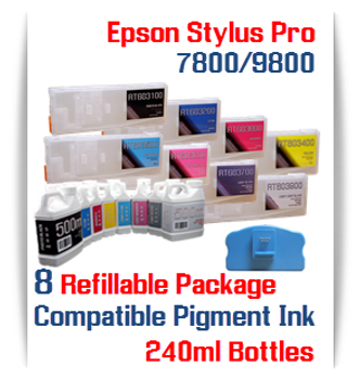 8 Refillable Cartridge Package With Bottles Pigment Ink Epson Stylus Pro 7800 9800 Printer Compatible Cartridges 350ml