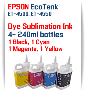 4- 240ml bottles EPSON EcoTank ET-4500, ET-4550 Dye Sublimation Ink