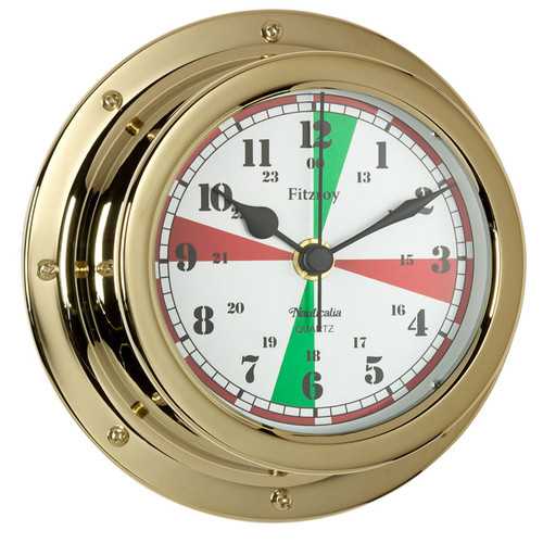 Fitzroy Radio Silence Clock Brass