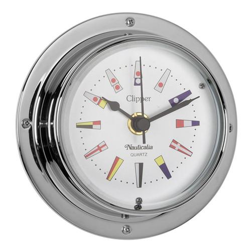 Clipper Code Flag Clock Chrome