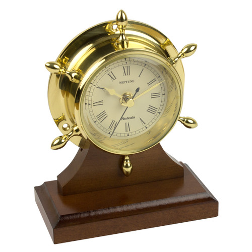 Neptune Clock Brass with Plinth