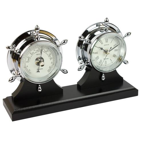 Neptune Clock & Barometer Chrome with Plinth