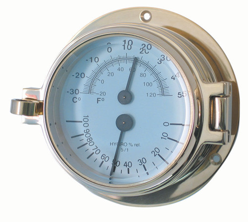 """Royal Mariner 3"""" Channel Brass Thermometer/Hygrometer"""
