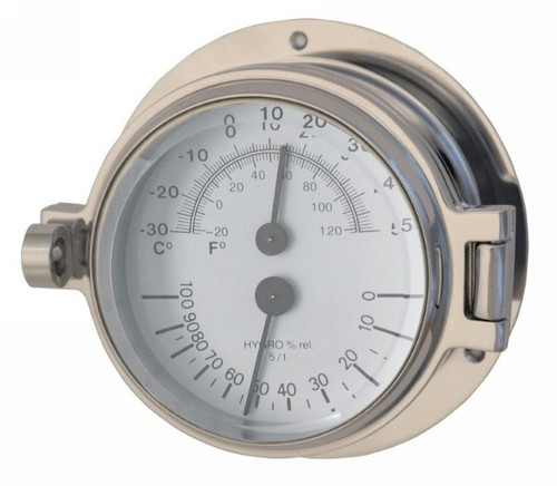 """Royal Mariner 3"""" Channel Thermometer/Hygrometer Polished Chrome"""