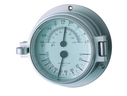 "Royal Mariner 3"" Channel Thermometer/Hygrometer Matt Chrome"