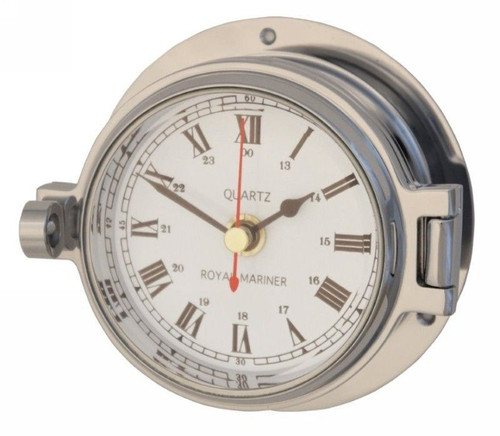 "Royal Mariner 3"" Channel Polished Chrome Clock"