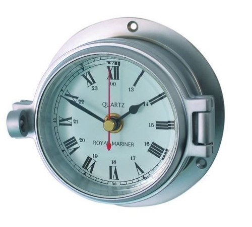 These Channel Range of instruments are made by anodising chrome onto brass giving a polished chrome colour with an opening latch and bevelled glass. The clock has a quartz movement.  Back Flange Diameter: 117mm Face and Dial Diameter: 84mm Depth: 52mm Product Code: CM18048