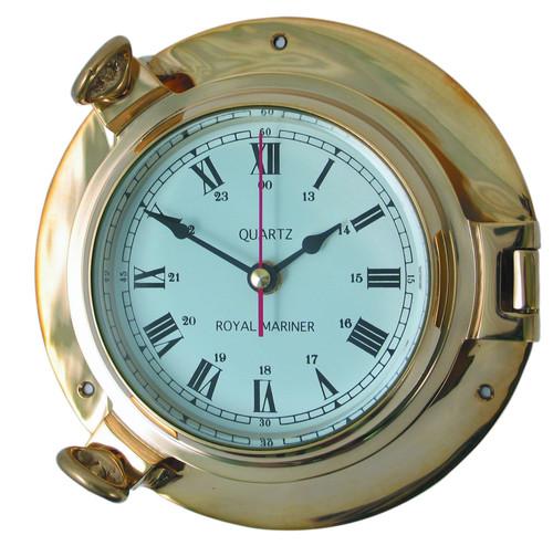 Royal Mariner Porthole Medium Brass Clock