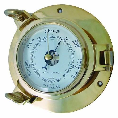 Royal Mariner Porthole Large Brass Barometer
