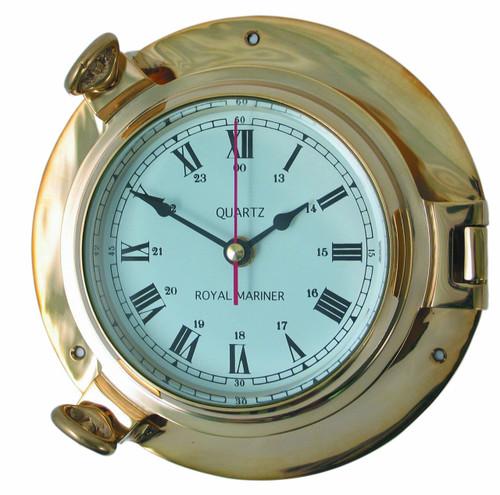 Royal Mariner Porthole Large Brass Clock