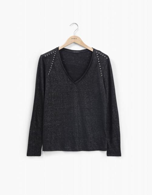 Camiseta manga larga lino metalizada y tachas IKKS BT10175