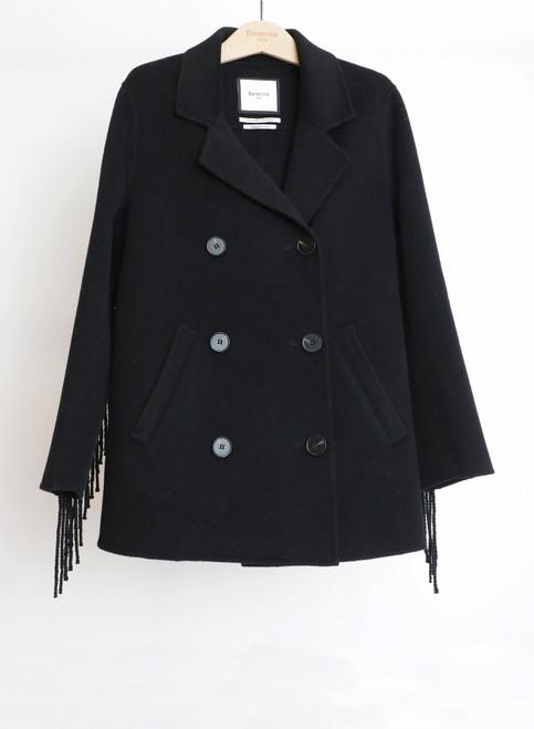 Abrigo Berenice modelo VATEL negro doble faz lana