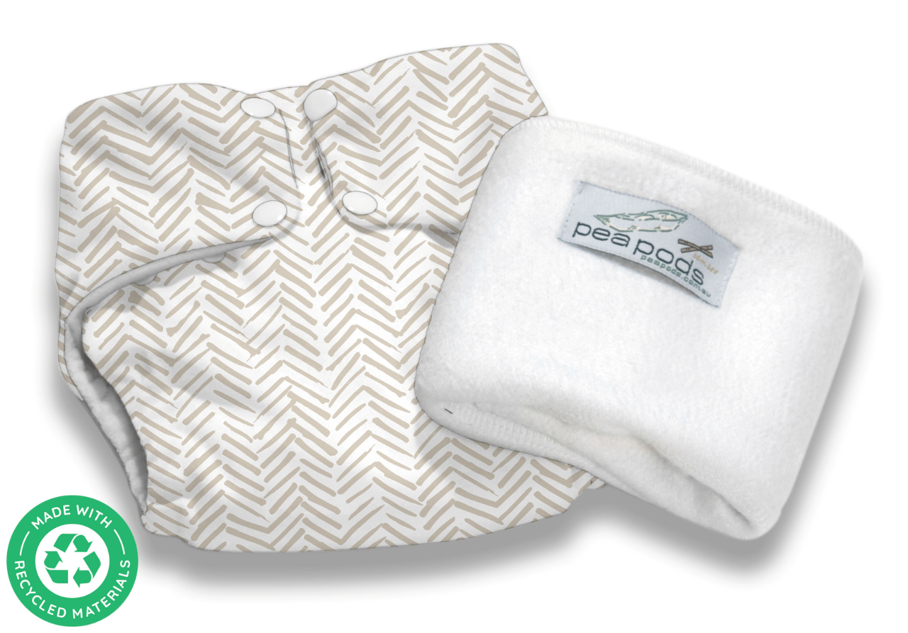 Pea Pods Reusable Nappy Rustic Lines