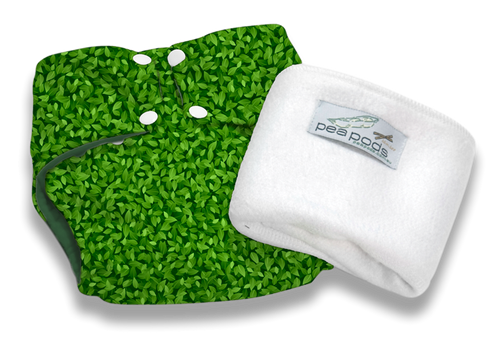 Pea Pods Reusable Nappy Green Leaves