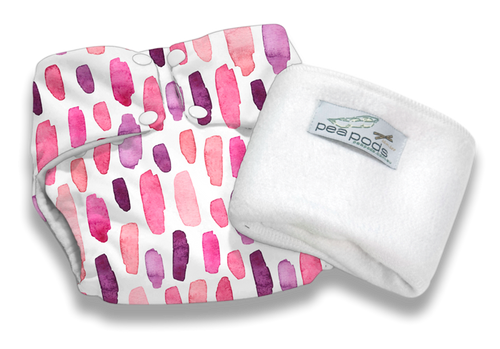 Pea Pods Reusable Nappy Pink Watercolour