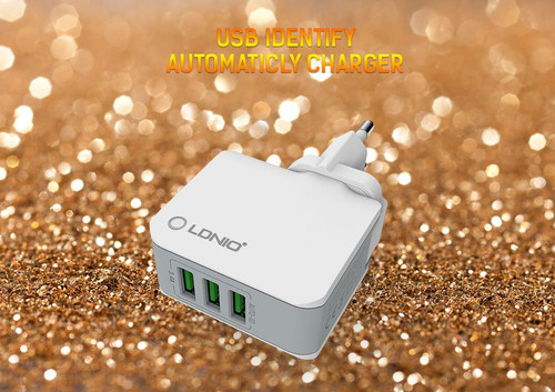 LDNIO®;3 Port USB Travel Charger Auto-ID A3303 - UK PLUG - For iOS and Android