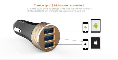 LDNIO® USB  Car Charger 3 Ports model DL-C50