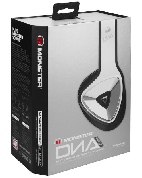 Monster DNA Pro Over Hear Headphones White Tuxedo Noise Cancelling Control Talk