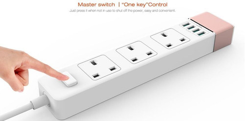 LDNIO® UK 3 PLUG POWER EXTENSION SOCKET AUTO-ID 4 USB PORT SURGE PROTECTION