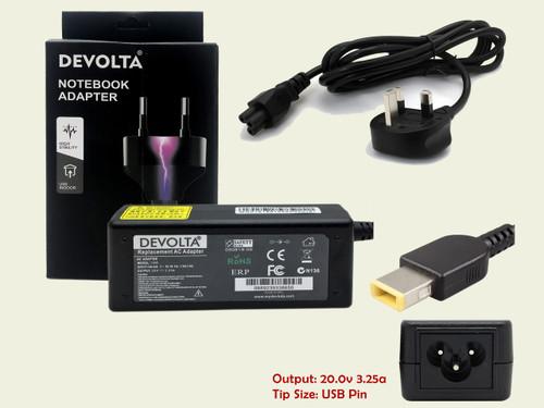 DEVOLTA Laptop Adaptor for Lenovo G500S Touch, G410s, G510s, Flex2/Pro USB  65W