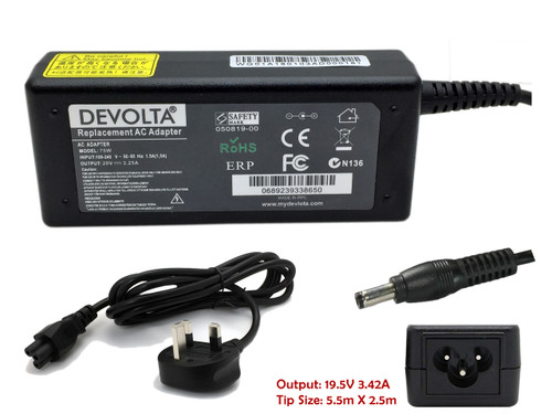 DEVOLTA Adaptor Charger for Toshiba A80, L650D, A300D, L630 Series Laptop 65W