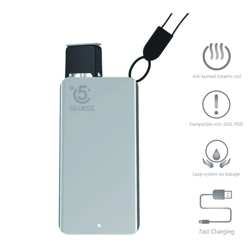 5 Degree Pod Kit with Rechargeable 380mAh battery + 2 Juul compatible empty fillable pods - Silver