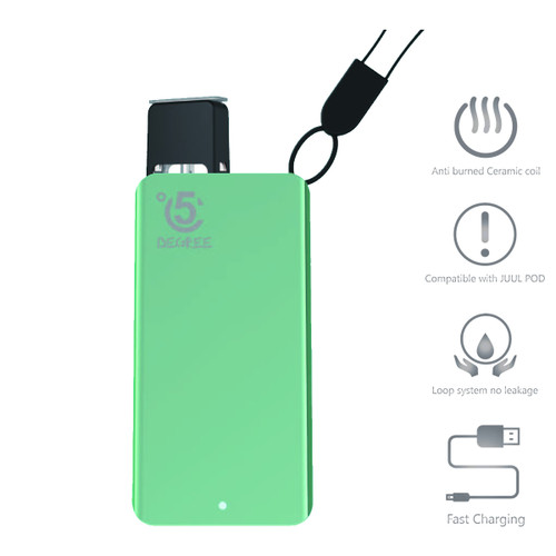 5 Degree Pod Kit with Rechargeable 380mAh battery + 2 Juul compatible empty fillable pods - Aqua