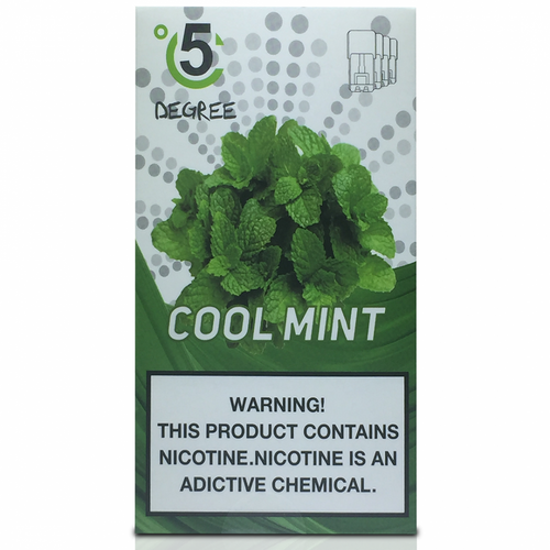 5 DEGREE JUUL COMPATIBLE Premium Eliquid PODS 1ml capacity - 4 PACK - Cool Mint
