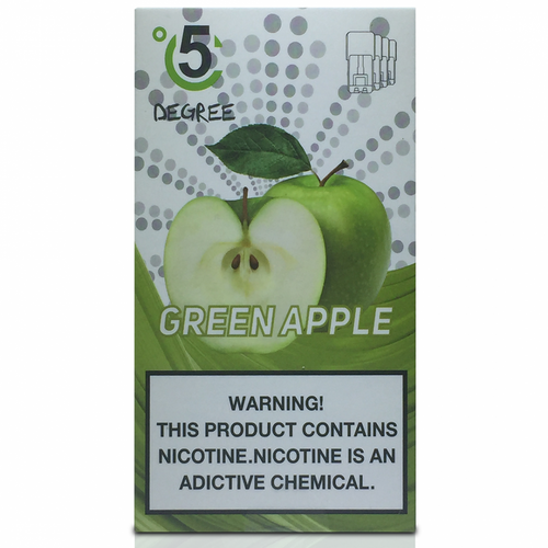 5 DEGREE JUUL COMPATIBLE Premium Eliquid PODS 1ml capacity - 4 PACK - Green Apple