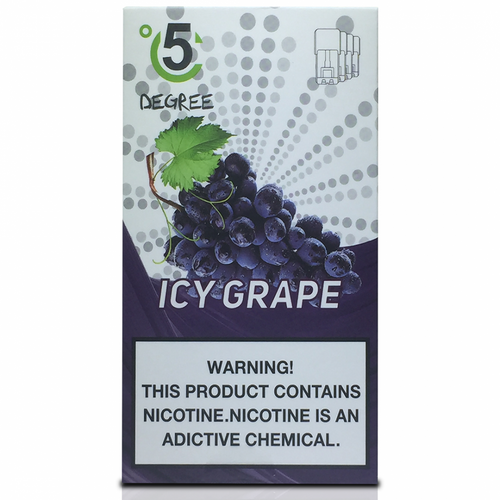 5 DEGREE JUUL COMPATIBLE Premium Eliquid PODS 1ml capacity - 4 PACK - Icy Grape