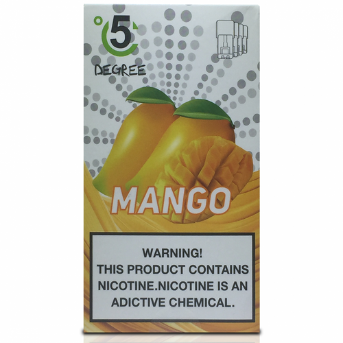 5 DEGREE JUUL COMPATIBLE Premium Eliquid PODS 1ml capacity - 4 PACK - Mango
