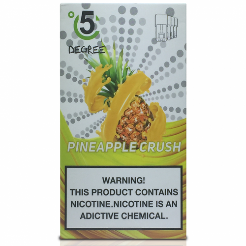 5 DEGREE JUUL COMPATIBLE Premium Eliquid PODS 1ml capacity - 4 PACK - Pineapple Crush