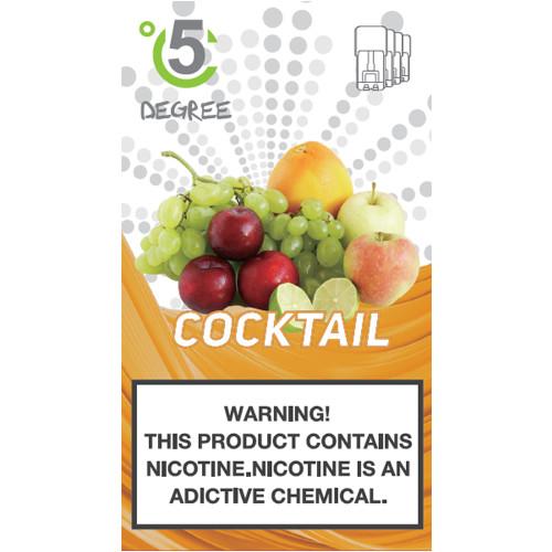 5 DEGREE JUUL COMPATIBLE Premium Eliquid PODS 1ml capacity - 4 PACK - Fruit Cocktail